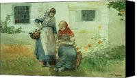 Picker Canvas Prints - Picking Flowers Canvas Print by Winslow Homer