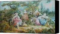 Dogs Tapestries - Textiles Canvas Prints - Picnic in France Tapestry Canvas Print by Unique Consignment