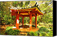 Octagonal Canvas Prints - Picnic Pagoda Canvas Print by Cheryl Young