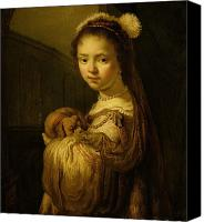 Asleep Painting Canvas Prints - Picture of a Young Girl Canvas Print by Govaert Flinck