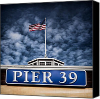 Flagpole Canvas Prints - Pier 39 Canvas Print by David Bowman