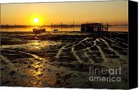 Riverside Canvas Prints - Pier at Sunset Canvas Print by Carlos Caetano