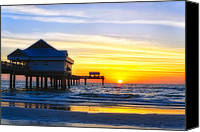 Gulf Of Mexico Canvas Prints - Pier  at Sunset Clearwater Beach Florida Canvas Print by George Oze