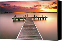 Cloud Glass Canvas Prints - Pier In Lake Macquarie At Sunset, Australia Canvas Print by Yury Prokopenko