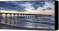 Panama City Beach Photo Canvas Prints - Pier in the Evening Canvas Print by Sandy Keeton