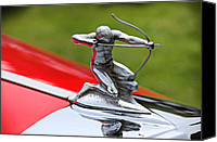 Hotrod Photo Canvas Prints - Piere-Arrow hood ornament Canvas Print by Garry Gay