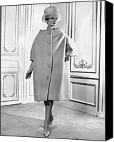1950s Fashion Canvas Prints - Pierre Cardin Womens Voluminous Coat Canvas Print by Everett