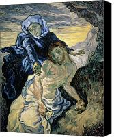 Virgin Mary Painting Canvas Prints - Pieta Canvas Print by Vincent van Gogh