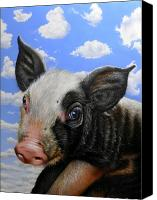 Pig Painting Canvas Prints - Pig in the Sky Canvas Print by Jurek Zamoyski