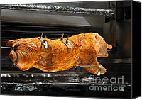 Barbecue Canvas Prints - Pig plus Barbecue equals Mmmm Good Canvas Print by Christine Till