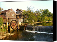 Old Mill Pigeon Forge Canvas Prints - Pigeon Forge Mill in Tennessee Canvas Print by Cindy Wright