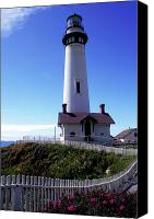 Beach Prints Canvas Prints - Pigeon Point Lighthouse 3 Canvas Print by Kathy Yates