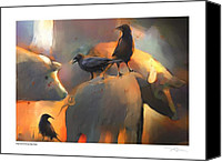 Black Birds Canvas Prints - Pigs Dont Fly Canvas Print by Bob Salo