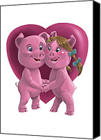 Boy Room Art Canvas Prints - Pigs In Love Canvas Print by Martin Davey