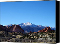 Garden Of The Gods Canvas Prints - Pikes Peak and Garden of the Gods Canvas Print by Donna Parlow