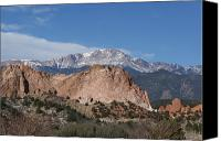 Colorado Artwork Canvas Prints - Pikes Peak Behind Garden of the Gods Canvas Print by Ernie Echols