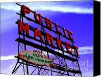 City Scapes Canvas Prints - Pikes Place Market Canvas Print by Nick Gustafson