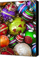 Ball Canvas Prints - Pile of beautiful ornaments Canvas Print by Garry Gay