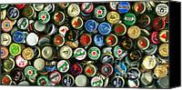 Bottle Cap Canvas Prints - Pile of Beer Bottle Caps . 2 to 1 Proportion Canvas Print by Wingsdomain Art and Photography
