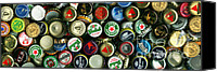 Bottle Caps Canvas Prints - Pile of Beer Bottle Caps . 3 to 1 Proportion Canvas Print by Wingsdomain Art and Photography