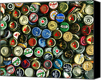 Bottle Caps Canvas Prints - Pile of Beer Bottle Caps . 8 to 10 Proportion Canvas Print by Wingsdomain Art and Photography