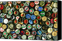 Bottle Cap Canvas Prints - Pile of Beer Bottle Caps . 8 to 12 Proportion Canvas Print by Wingsdomain Art and Photography