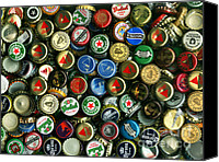 Bottle Cap Canvas Prints - Pile of Beer Bottle Caps . 9 to 12 Proportion Canvas Print by Wingsdomain Art and Photography