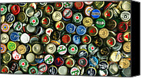 Bottle Cap Canvas Prints - Pile of Beer Bottle Caps . 9 to 16 Proportion Canvas Print by Wingsdomain Art and Photography