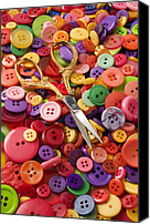 Scissors Canvas Prints - Pile of buttons with scissors  Canvas Print by Garry Gay