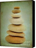 Textured Canvas Prints - Pile of stones Canvas Print by Bernard Jaubert