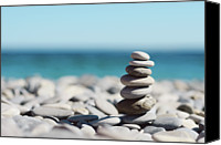 Selective Canvas Prints - Pile Of Stones On Beach Canvas Print by Dhmig Photography
