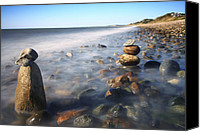 Beach Prints Canvas Prints - Pile Of Stones On Ryder Beach Truro MA Canvas Print by Dapixara Art