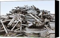 Garbage Canvas Prints - Pile of Wood Debris Canvas Print by Paul Edmondson