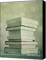 Reading Canvas Prints - Piled Reading Matter Canvas Print by Priska Wettstein