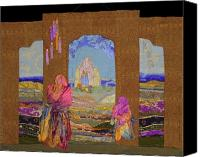 Art Quilt Tapestries - Textiles Canvas Prints - Pilgrimage Canvas Print by Roberta Baker
