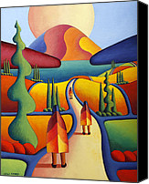Kenny Canvas Prints - Pilgrimage To The Sacred Mountain With 3 Figures  Canvas Print by Alan Kenny