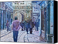 Tourists Painting Canvas Prints - Pilgrims at the Gate Canvas Print by Jenny Armitage