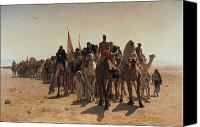 Orientalist Canvas Prints - Pilgrims Going to Mecca Canvas Print by Leon Auguste Adolphe Belly