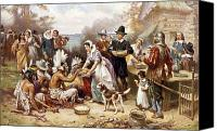 New World Canvas Prints - Pilgrims: Thanksgiving, 1621 Canvas Print by Granger