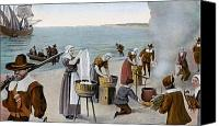 New World Canvas Prints - Pilgrims Washing Day, 1620 Canvas Print by Granger