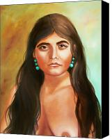 Indian Portrait. Native American.southwest. Canvas Prints - Pima Maiden Canvas Print by Joni McPherson