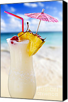 Straw Canvas Prints - Pina colada cocktail on the beach Canvas Print by Elena Elisseeva