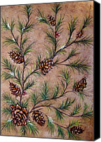 Tree Pastels Canvas Prints - Pine Cones and Spruce Branches Canvas Print by Nancy Mueller