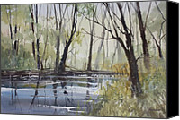 Impressionist Canvas Prints - Pine River Reflections Canvas Print by Ryan Radke
