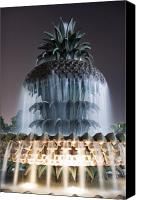 Lowcountry Canvas Prints - Pineapple Fountain Charleston SC Canvas Print by Dustin K Ryan