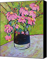 Impressionism Canvas Prints - Pink and Green Canvas Print by Blenda Tyvoll