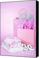 Presents Canvas Prints - Pink baby shower presents Canvas Print by Elena Elisseeva