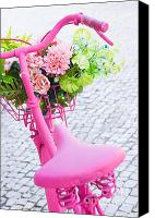 Flower Design Canvas Prints - Pink Bicycle Canvas Print by Carlos Caetano