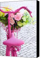 Basket Photo Canvas Prints - Pink Bike Canvas Print by Carlos Caetano