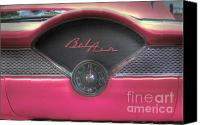 Hot Pink Custom Canvas Prints - Pink Chevy Bel Air Glove box and Clockface Canvas Print by Lee Dos Santos